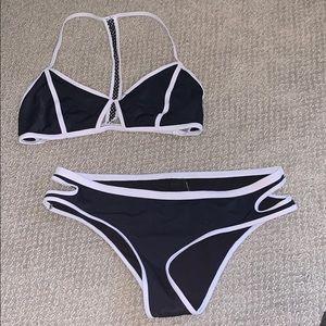 L.A. Hearts Black/White Bikini Set
